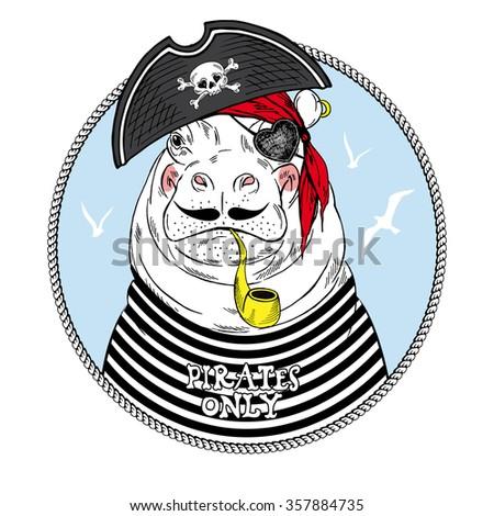nautical animal, hippo pirate, kid illustration - stock vector