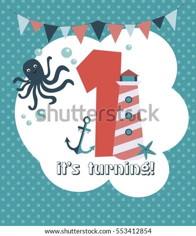 Nautical Baby Birthday Card Design Vector Stock Vector 553412854