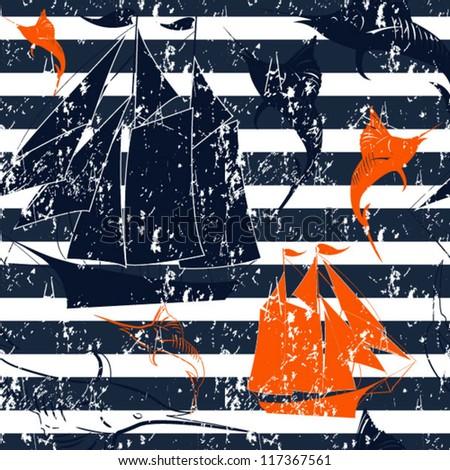 Nautical background. Grunge Seamless background - stock vector
