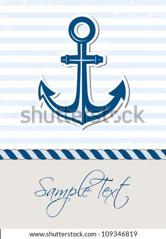 Nautical background with anchor - stock vector