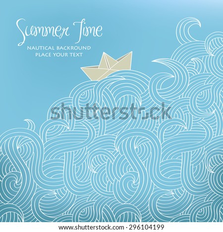 Nautical background with paper boat - stock vector