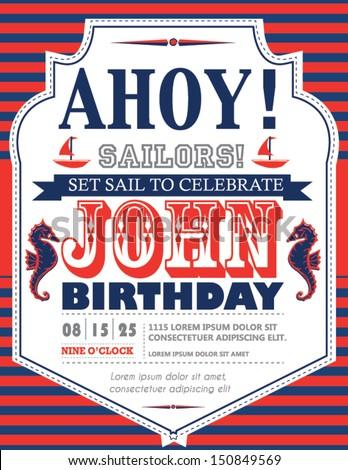 Nautical Birthday Card Design - stock vector