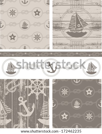 Nautical Boat Themed Seamless Vector Patterns. - stock vector