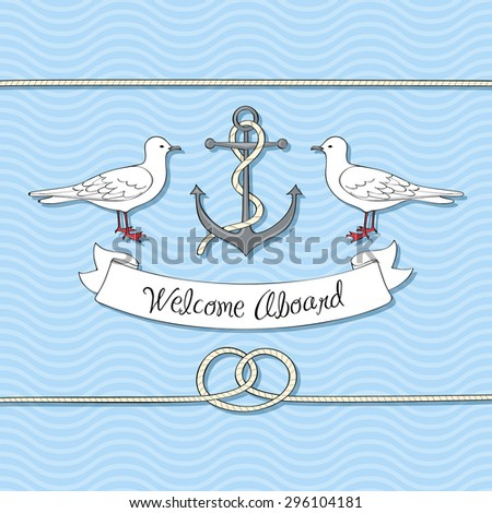 Nautical card with anchor and gulls - stock vector