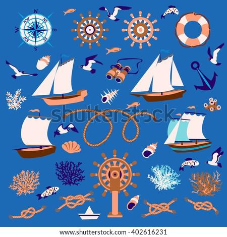 Nautical cartoon set: sailboats, fish, seagull, coral, wind rose, steering wheel, lifeline, binoculars, shell, knots - stock vector