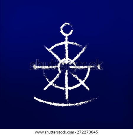 Nautical chalk icons on the dark blue background - stock vector