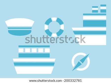 nautical design elements - stock vector