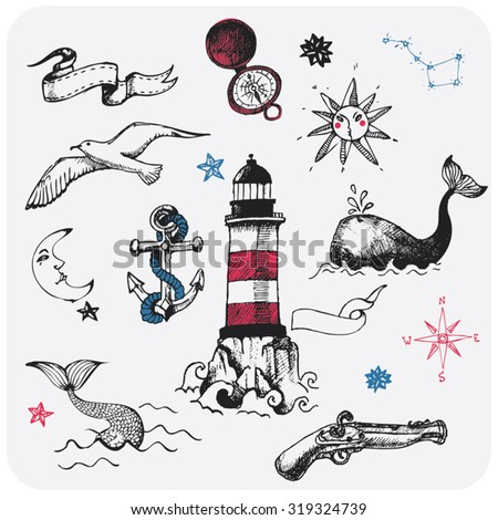 Nautical design elements - stock vector