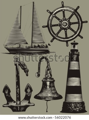 Nautical design elements: anchor, sailboat, lighthouse, steering wheel, bell. - stock vector