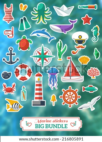 Nautical design elements: anchor, starfish, wheel, boat, fish, bell, lifebuoy, lighthouse, octopus, compass. Vector illustration. Blurred waves background. - stock vector