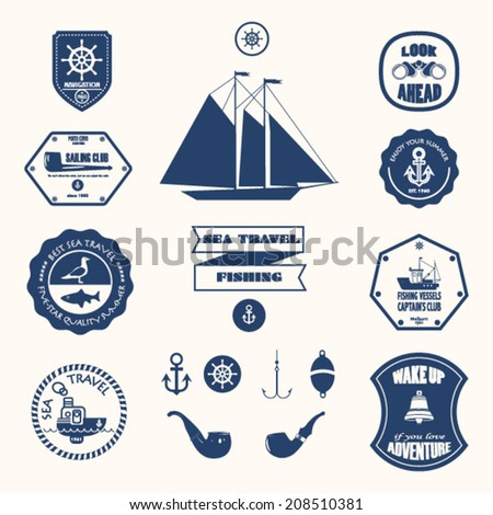 Nautical design elements stock vector - stock vector