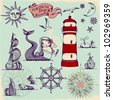 Nautical Design Elements - Whimsical set of hand drawn nautical design elements resembling medieval maritime maps - stock photo