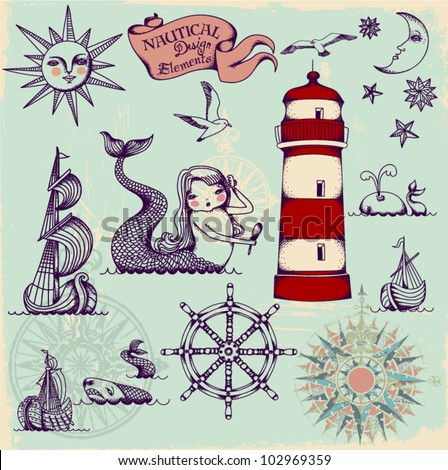 Nautical Design Elements - Whimsical set of hand drawn nautical design elements resembling medieval maritime maps - stock vector