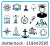 Nautical design frame and icon collection, captain character - stock vector