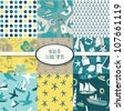 Nautical Digital Scrapbook Papers - stock vector