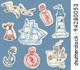 Nautical doodles on Torn Paper- Hand drawn collection in vector - stock photo