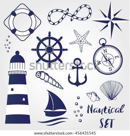 Nautical elements: lighthouse, seashell, coral, starfihh, rope, anchor,  wheel, life buoy, the wind rose, compass, ship. Can be used for logo, textile, banner, poster, scrapbooking and other design