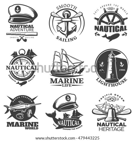 Nautical emblem set with sail around the world marine life lighthouse marine world descriptions vector illustration