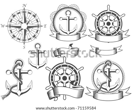Nautical emblems with different seafaring design elements - stock vector