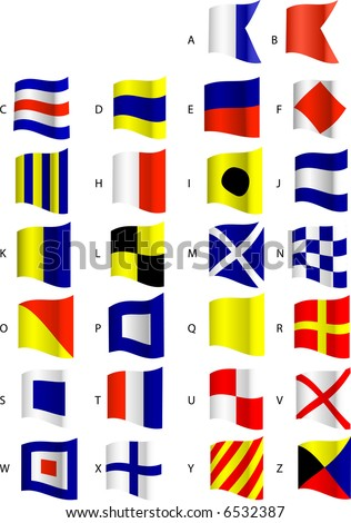 Nautical Flags-Alphabet - stock vector