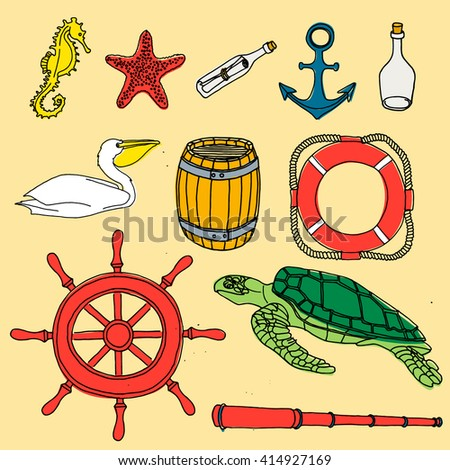 Nautical hand drawn vector set. Hand drawn sea sketch doodle set. Ocean cartoon animals and objects. Yellow seahourse. Red carpetle whith a message. Red carpet anchor. Bottle of rum. Pelican. Barrel. - stock vector