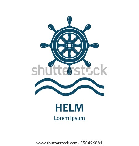 Nautical helm wheel. Helm logo for maritime companies. Boat wheel control rudder vector icon. Rudder ships, sea wheel, round, control, yacht, cruise. Helm wheel isolated. Vector label template.