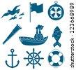 nautical icon set - stock vector