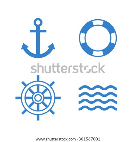 Nautical icon set. Anchor, lifebuoy, ship steering wheel, waves simple icons. Modern minimal flat design style - stock vector
