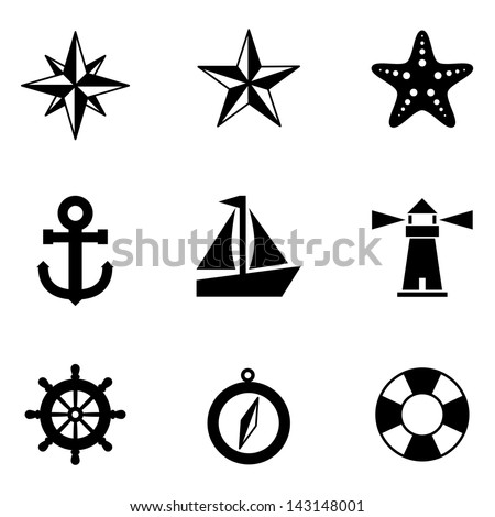 Nautical Icons - A set of 9 nautical-themed icons.  Each icon is a separate group. - stock vector