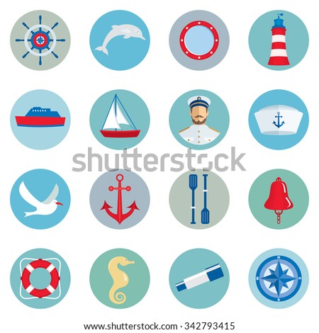 Nautical icons - set of sixteen vector icons.  - stock vector