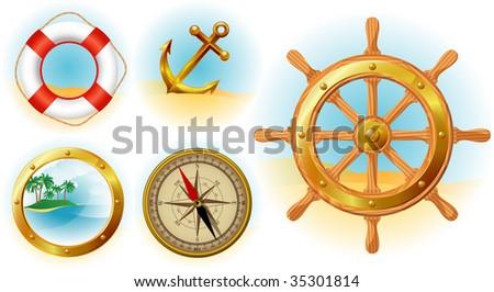 Nautical icons set. Vector. - stock vector