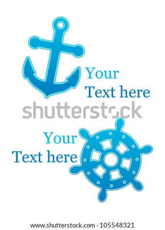 Nautical icons with anchor and wheel - stock vector