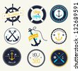 Nautical labels set - stock photo