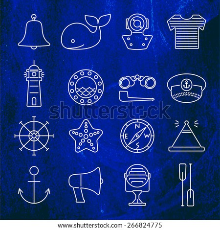 Nautical line icons set on a dark blue background