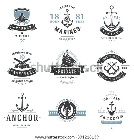Nautical Logos Templates Set. Vector object and Icons for Marine Labels, Sea Badges, Anchor Logos Design, Emblems Graphics. Ship Silhouettes, Anchor Symbols. - stock vector