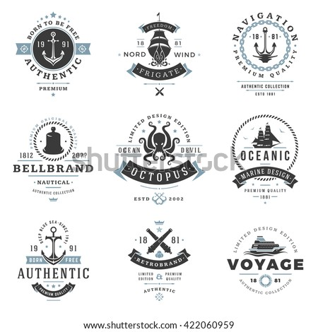 Nautical Logos Templates Set. Vector object and Icons for Marine Labels, Sea Badges, Anchor Logos Design, Emblems Graphics.