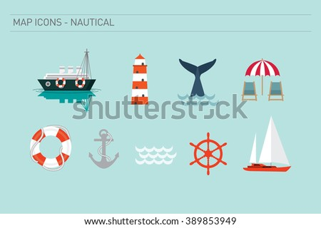 nautical map icons vector/illustration
