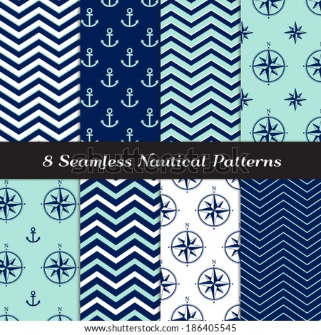 Nautical Navy Blue, Aqua and White Chevron, Anchors and Compasses Seamless Patterns. Navy and Aqua Nautical Backgrounds N2. Pattern Swatches made with Global Colors. - stock vector
