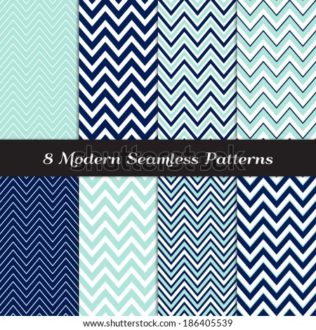 Nautical Navy Blue, Aqua and White Thick and Thin Chevron Seamless Patterns. Navy and Aqua Nautical Backgrounds. Pattern Swatches included and made with Global Colors. - stock vector