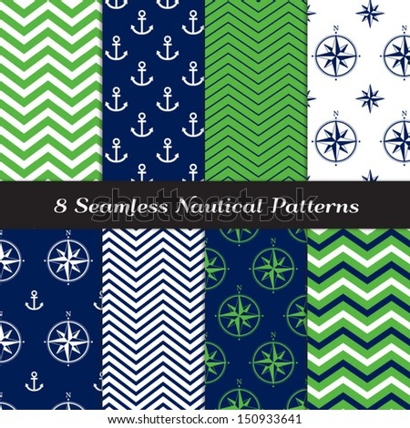 Nautical Navy Blue, Green and White Chevron and Anchors and Compasses Patterns. Green Navy Nautical Backgrounds N1. Pattern Swatches included and made with Global Colors. - stock vector