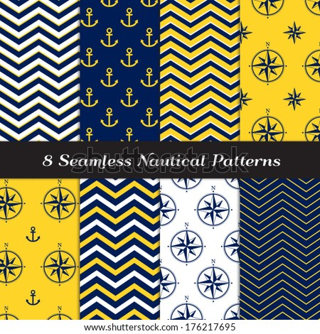 Nautical Navy Blue, Yellow and White Chevron, Anchors and Compasses Seamless Patterns. Navy Yellow Nautical Backgrounds #2. Pattern Swatches made with Global Colors. - stock vector