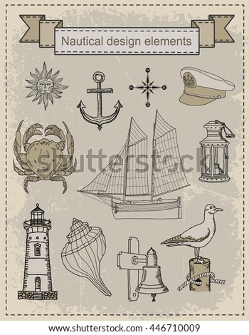 nautical. objects - stock vector