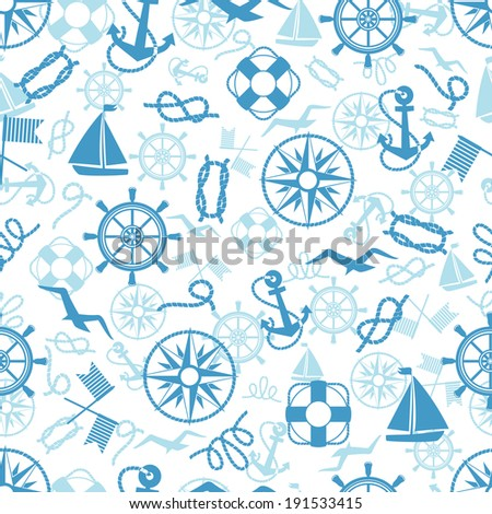 Nautical or marine themed seamless pattern with anchors  life buoys  ropes  knots  compass  yacht  semaphore flags  seagulls and vintage ships wheels in square format suitable for wallpaper and fabric - stock vector