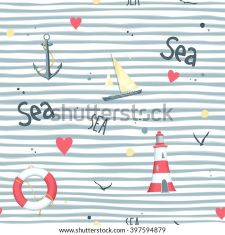 Nautical pattern with sailboat, seagulls, life buoy, anchor and lighthouse made in the vector. White background.  - stock vector