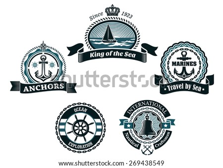 Nautical retro labels and badges in traditional blue colors depicting ship, anchors, helm and bell framed ropes, chains, waves and ribbon banners  - stock vector