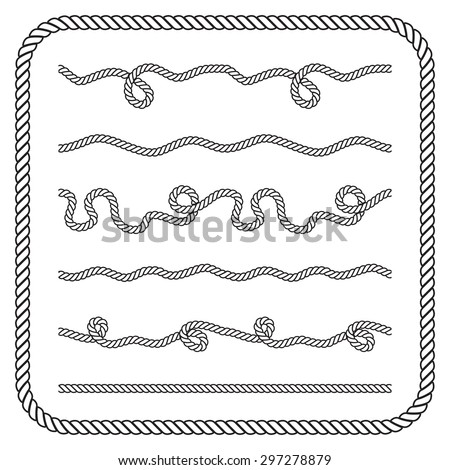 Nautical rope knots. Vector silhouettes - stock vector