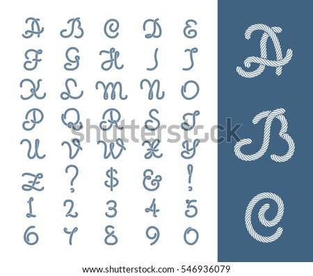 Nautical Rope Letters Thread Font With Ropes Frame Border Figure Of Number Cord Vector