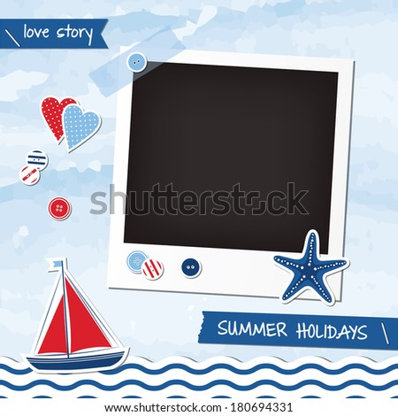 Nautical scrapbook elements, photoframe  - stock vector
