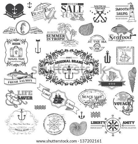 Nautical Sea Calligraphic Elements - for scrapbook and design in vector - stock vector