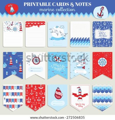 Nautical Sea Card Set - for scrapbook, wedding, party, design - in vector - stock vector